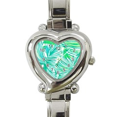 Painting Leafe Green Summer Heart Italian Charm Watch