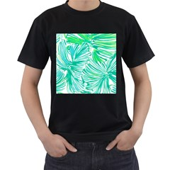 Painting Leafe Green Summer Men s T Shirt (black) (two Sided)
