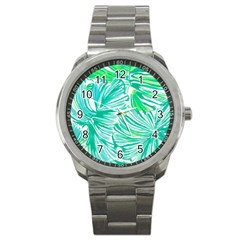 Painting Leafe Green Summer Sport Metal Watch