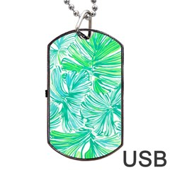 Painting Leafe Green Summer Dog Tag Usb Flash (two Sides)