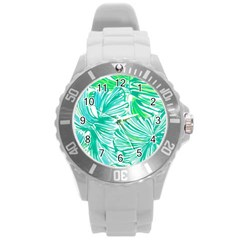 Painting Leafe Green Summer Round Plastic Sport Watch (l) by AnjaniArt