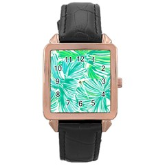Painting Leafe Green Summer Rose Gold Leather Watch  by AnjaniArt
