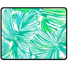Painting Leafe Green Summer Double Sided Fleece Blanket (medium)