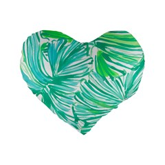 Painting Leafe Green Summer Standard 16  Premium Flano Heart Shape Cushions by AnjaniArt