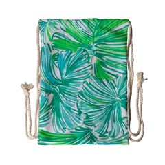 Painting Leafe Green Summer Drawstring Bag (small)