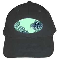 Tropical Leaves Green Leaf Black Cap by AnjaniArt