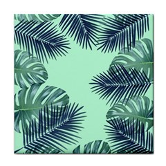 Tropical Leaves Green Leaf Tile Coasters