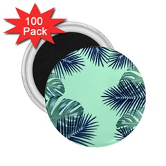 Tropical Leaves Green Leaf 2 25  Magnets (100 Pack)  by AnjaniArt
