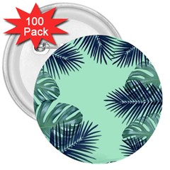 Tropical Leaves Green Leaf 3  Buttons (100 Pack)
