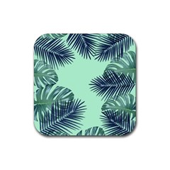 Tropical Leaves Green Leaf Rubber Coaster (square)  by AnjaniArt
