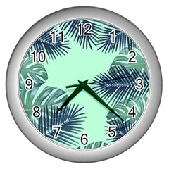 Tropical Leaves Green Leaf Wall Clock (silver)