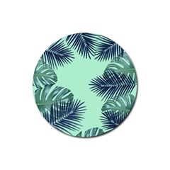 Tropical Leaves Green Leaf Rubber Round Coaster (4 Pack)