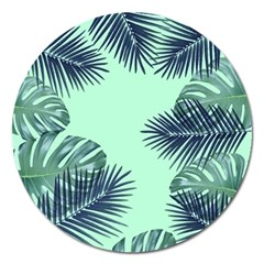 Tropical Leaves Green Leaf Magnet 5  (round) by AnjaniArt