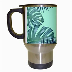 Tropical Leaves Green Leaf Travel Mugs (white) by AnjaniArt