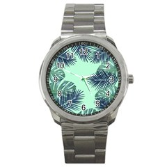 Tropical Leaves Green Leaf Sport Metal Watch by AnjaniArt