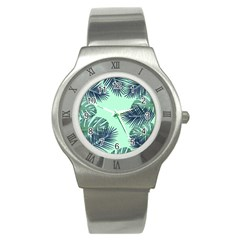 Tropical Leaves Green Leaf Stainless Steel Watch by AnjaniArt