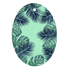 Tropical Leaves Green Leaf Oval Ornament (two Sides)