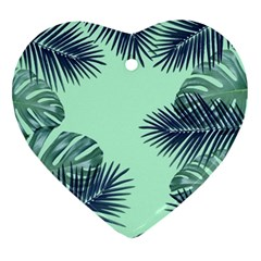 Tropical Leaves Green Leaf Heart Ornament (two Sides) by AnjaniArt