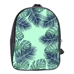 Tropical Leaves Green Leaf School Bag (large)