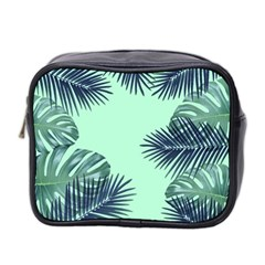 Tropical Leaves Green Leaf Mini Toiletries Bag (two Sides)