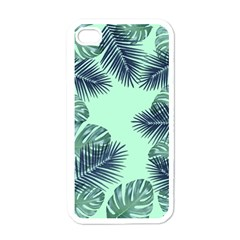 Tropical Leaves Green Leaf Apple Iphone 4 Case (white)