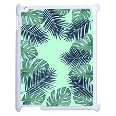 Tropical Leaves Green Leaf Apple Ipad 2 Case (white)