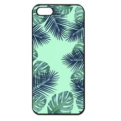 Tropical Leaves Green Leaf Apple Iphone 5 Seamless Case (black) by AnjaniArt