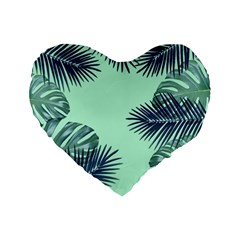 Tropical Leaves Green Leaf Standard 16  Premium Heart Shape Cushions by AnjaniArt