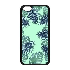 Tropical Leaves Green Leaf Apple Iphone 5c Seamless Case (black) by AnjaniArt