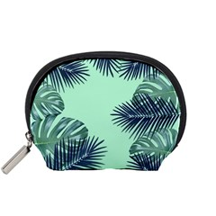 Tropical Leaves Green Leaf Accessory Pouch (small)