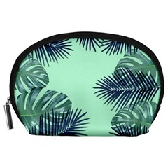 Tropical Leaves Green Leaf Accessory Pouch (large)