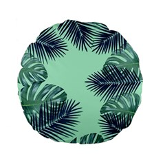 Tropical Leaves Green Leaf Standard 15  Premium Flano Round Cushions by AnjaniArt