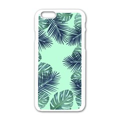 Tropical Leaves Green Leaf Apple Iphone 6/6s White Enamel Case by AnjaniArt