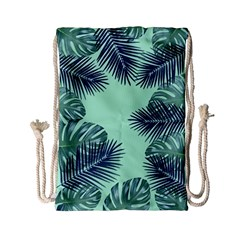 Tropical Leaves Green Leaf Drawstring Bag (small)