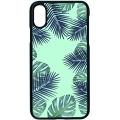 Tropical Leaves Green Leaf Apple Iphone X Seamless Case (black)