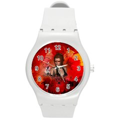 The Fairy Of Music Round Plastic Sport Watch (m) by FantasyWorld7