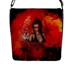 The Fairy Of Music Flap Closure Messenger Bag (l) by FantasyWorld7