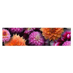 Pink And Orange Dahlias Collage Satin Scarf (oblong)