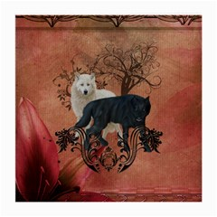 Awesome Black And White Wolf Medium Glasses Cloth (2 Side) by FantasyWorld7