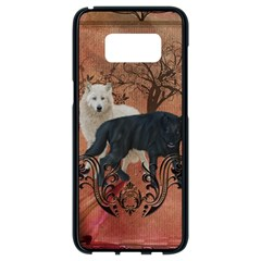 Awesome Black And White Wolf Samsung Galaxy S8 Black Seamless Case