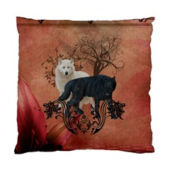 Awesome Black And White Wolf Standard Cushion Case (two Sides) by FantasyWorld7