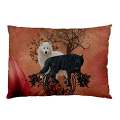 Awesome Black And White Wolf Pillow Case by FantasyWorld7