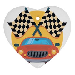 Automobile Car Checkered Drive Ornament (heart) by Samandel
