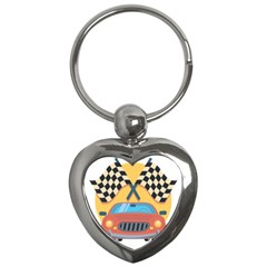 Automobile Car Checkered Drive Key Chains (heart)
