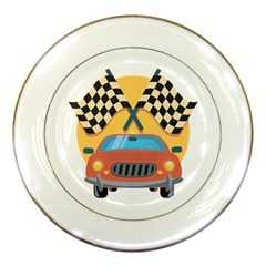 Automobile Car Checkered Drive Porcelain Plates by Samandel