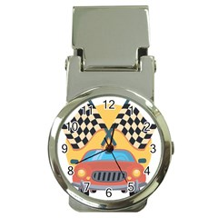 Automobile Car Checkered Drive Money Clip Watches