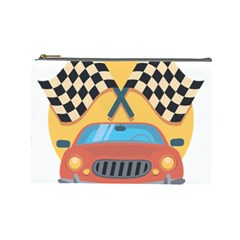 Automobile Car Checkered Drive Cosmetic Bag (large)