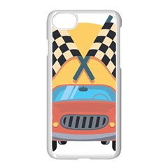 Automobile Car Checkered Drive Apple Iphone 7 Seamless Case (white)