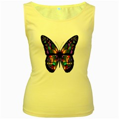 Abstract Animal Art Butterfly Women s Yellow Tank Top