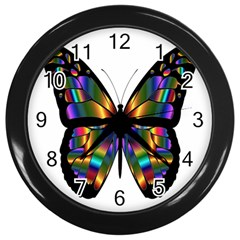 Abstract Animal Art Butterfly Wall Clock (black)